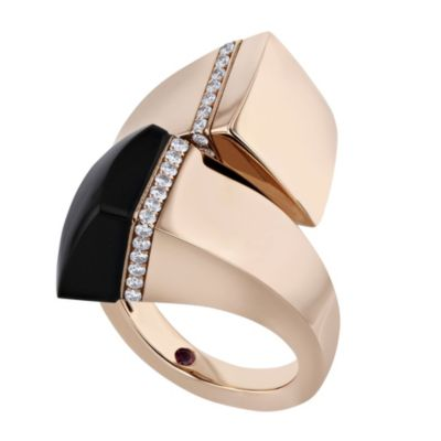 roberto coin 18k rose gold sauvage prive black jade & diamond cross over ring
