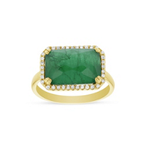 14k_yellow_gold_east-west_emerald,_white_topaz,_&_mother_of_pearl_triplet_ring_with_diamond_frame