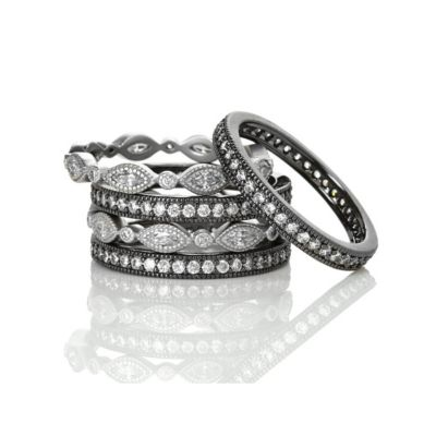 freida rothman sterling silver & black rhodium signature marquise eternity stack of 5 rings, size 7