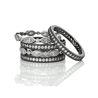 freida rothman sterling silver & black rhodium signature marquise eternity stack of 5 rings, size 8