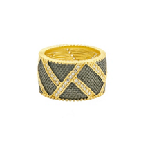 freida_rothman_yellow_tone_sterling_silver_&_black_rhodium_textured_ornaments_wide_band_ring,_size_7