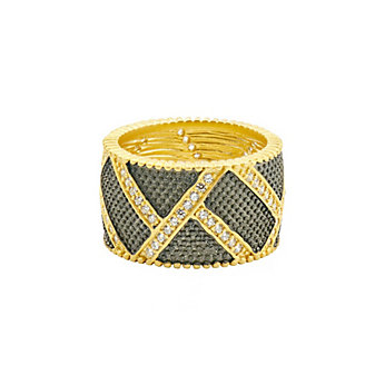 freida rothman yellow tone sterling silver & black rhodium textured ornaments wide band ring, size 7