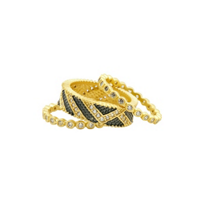 freida_rothman_yellow_tone_sterling_silver_&_black_rhodium_textured_ornaments_3_ring_stack,_size_7