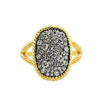 freida rothman yellow tone sterling silver & black rhodium gilded cable large cocktail ring, size 7