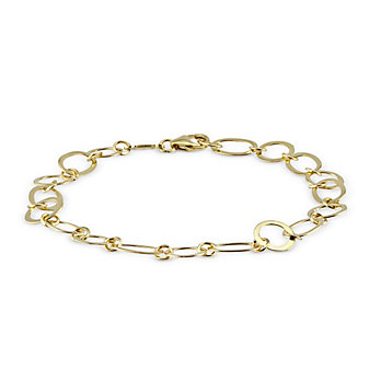 14K Yellow Gold Oval and Circle Link Bracelet