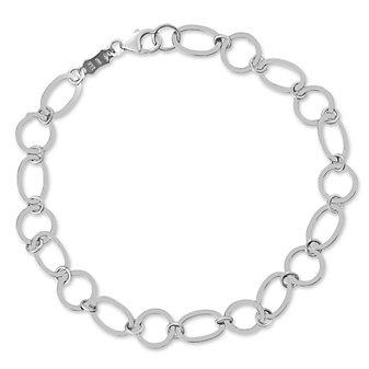 "14K White Gold Flat Oval and Circle Link Bracelet, 7.5"""