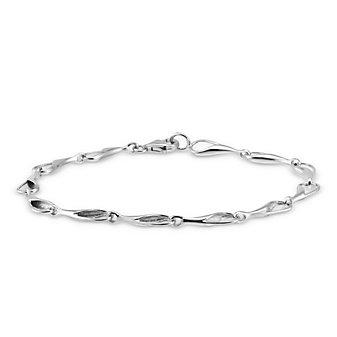 14K White Gold Needle's Eye Link Bracelet
