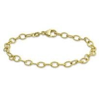 """14K_Yellow_Gold_Oval_Cable_Link_Bracelet,_7_1/2"""""""