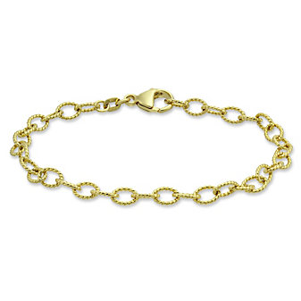 14K Yellow Gold Oval Cable Link Bracelet, 7 1/2""
