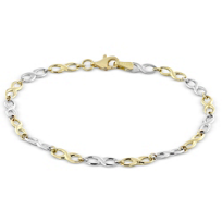 14K_Yellow_and_White_Gold_Infinity_Link_Bracelet,_7.5""
