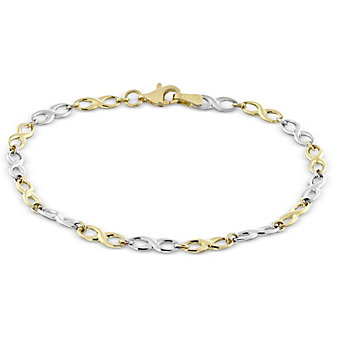 14K Yellow and White Gold Infinity Link Bracelet, 7.5""