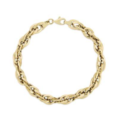 "14K Yellow Gold Interlocking Double Oval Loop Bracelet, 7.5"""