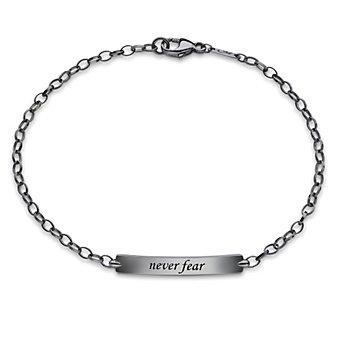 """Monica Rich Kosann Sterling Silver """"Never Fear"""" Petite Poesy Bracelet"""