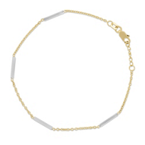 """14K_Yellow_and_White_Gold_Station_Bracelet,_7_1/2"""""""