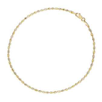 14K Yellow and White Gold Ankle Bracelet, 10""