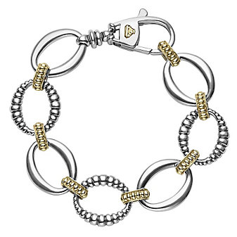 Lagos Sterling Silver & 18K Yellow Gold Oval Links Bracelet