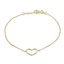 """14K_Yellow_Gold_Open_Heart_Bracelet,_7.5""""____________"""