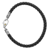 Lagos_Sterling_Silver_and_18K_Yellow_Gold_Black_Ceramic_Caviar_Bracelet,_5mm