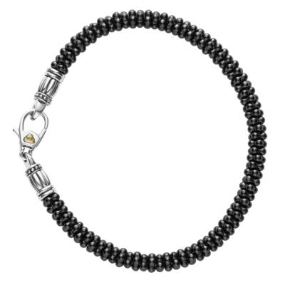 Lagos Sterling Silver and 18K Yellow Gold Black Ceramic Caviar Bracelet, 5mm