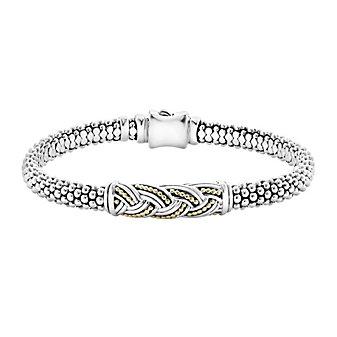 lagos sterling silver & 18k yellow gold torsade caviar knot 6mm bracelet
