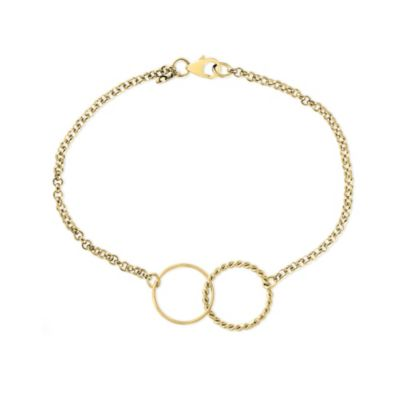 14k yellow gold twisted double ring bracelet, 7.5""