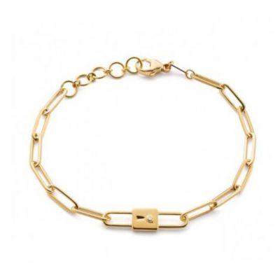 """monica rich kosann 18k yellow gold lock charm paperclip chain bracelet, 7.5"""""""