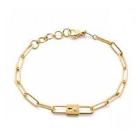 """monica_rich_kosann_18k_yellow_gold_lock_charm_paperclip_chain_bracelet,_7.5"""""""