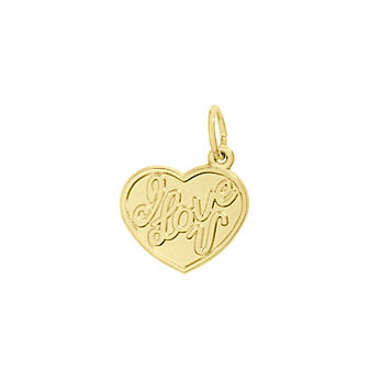 Rembrandt 14K White Gold I Love U Heart Charm