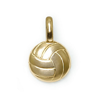 Alex Woo 14K Yellow Gold Mini Addition Sports Volleyball Charm