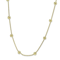 """14K_Yellow_Gold_Beaded_Cable_Chain,_18"""""""