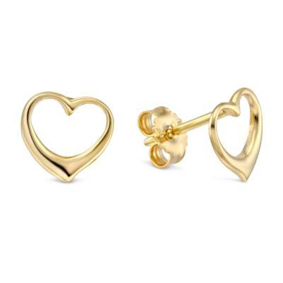 14K Yellow Gold Open Heart Earrings