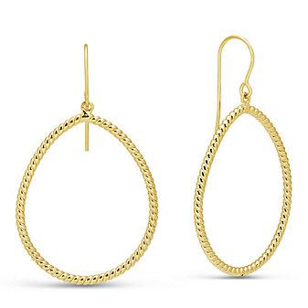 14K Yellow Gold Pear-Shape Twist Earrings with Shepard's Hook