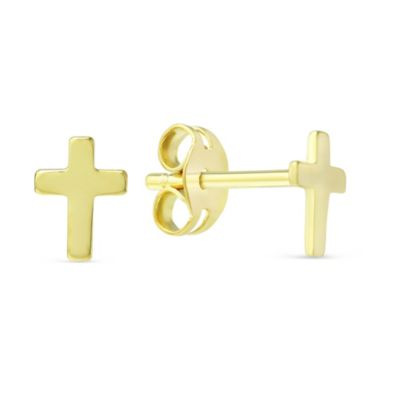 14K Yellow Gold Mini Cross Earrings