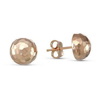 14K Rose Gold Faceted Dome Earrings