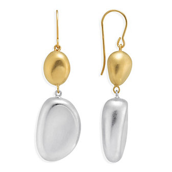 14K Yellow Gold & Sterling Silver Nugget Drop Earrings