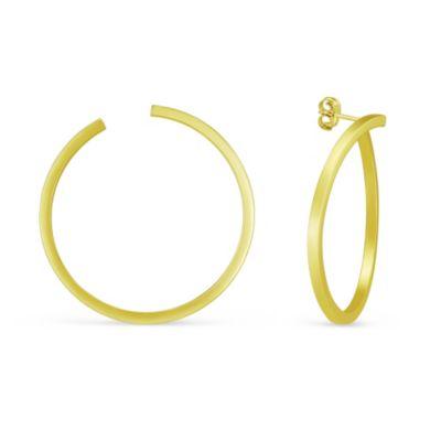 14K Yellow Gold Open Circular Stud Earrings