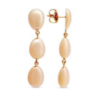 18K Rose Gold Triple Oval Dangle Earrings