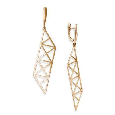 14K Rose Gold Roza X Pattern Parallelogram Drop Earrings