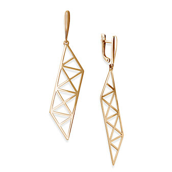 14K Rose Gold Roza X Pattern Parallelogram Drop Earrings
