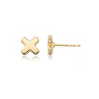 """14K_Yellow_Gold_""""X""""_Stud_Earrings,_8mm"""
