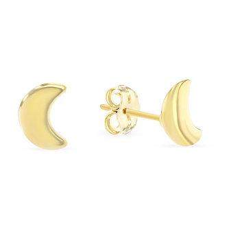 14k yellow gold 8mm half moon stud earrings