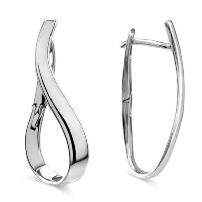 14K White Gold Curved Hoop Earrings