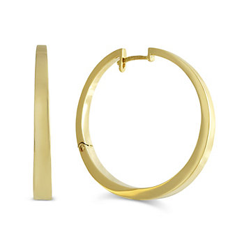 14K Yellow Gold Round Tapered Hoop Earrings