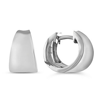 14K White Gold Concave Tapered Hoop Earrings