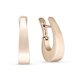 14K Rose Gold J Hoop Earrings