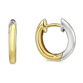 14K Yellow and White Gold Petite Hoop Earrings
