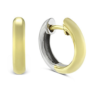 14K Yellow and White Gold Petite Hoop Earrings
