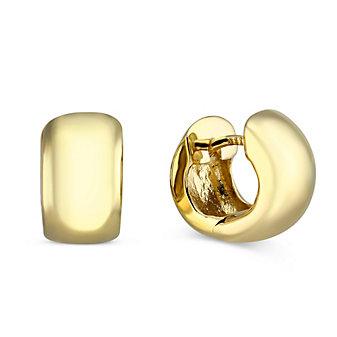 14K Yellow Gold Huggie Hoop Earrings