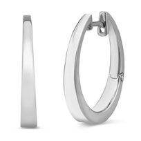 14K_White_Gold_Tapered_Hoop_Earrings,_7/8""