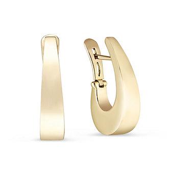 14K Yellow Gold Tapered J Hoop Earrings